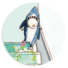 Load image into Gallery viewer, Sheet of 15 stickers - Cecil's Shark Costume