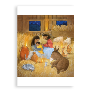 Pack of 5 printed Christmas cards - The first Christmas