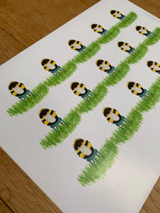 Sheet of 15 stickers - Fuzzy Little Bee