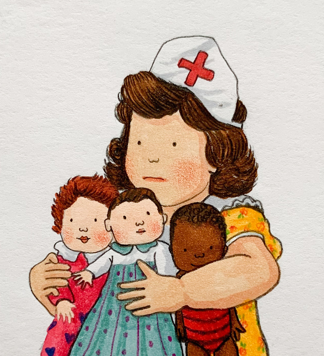 Little Nurse - Original signed artwork in marker pen and pencil crayon