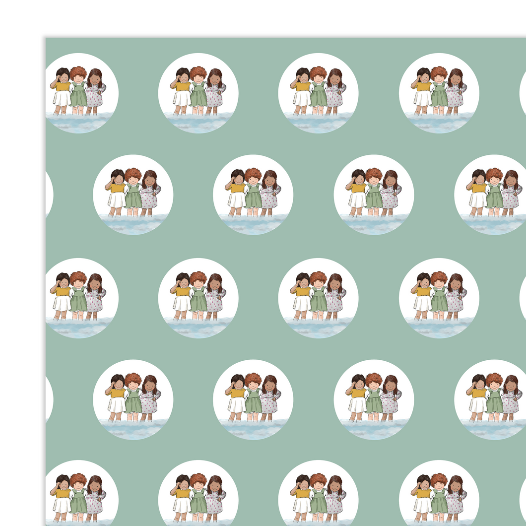 Wrapping Paper - Friends at the Seaside (4 sheets)
