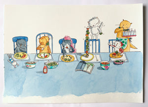 Cecil's Vegetable Tower - Original signed artwork in black ink and watercolour.