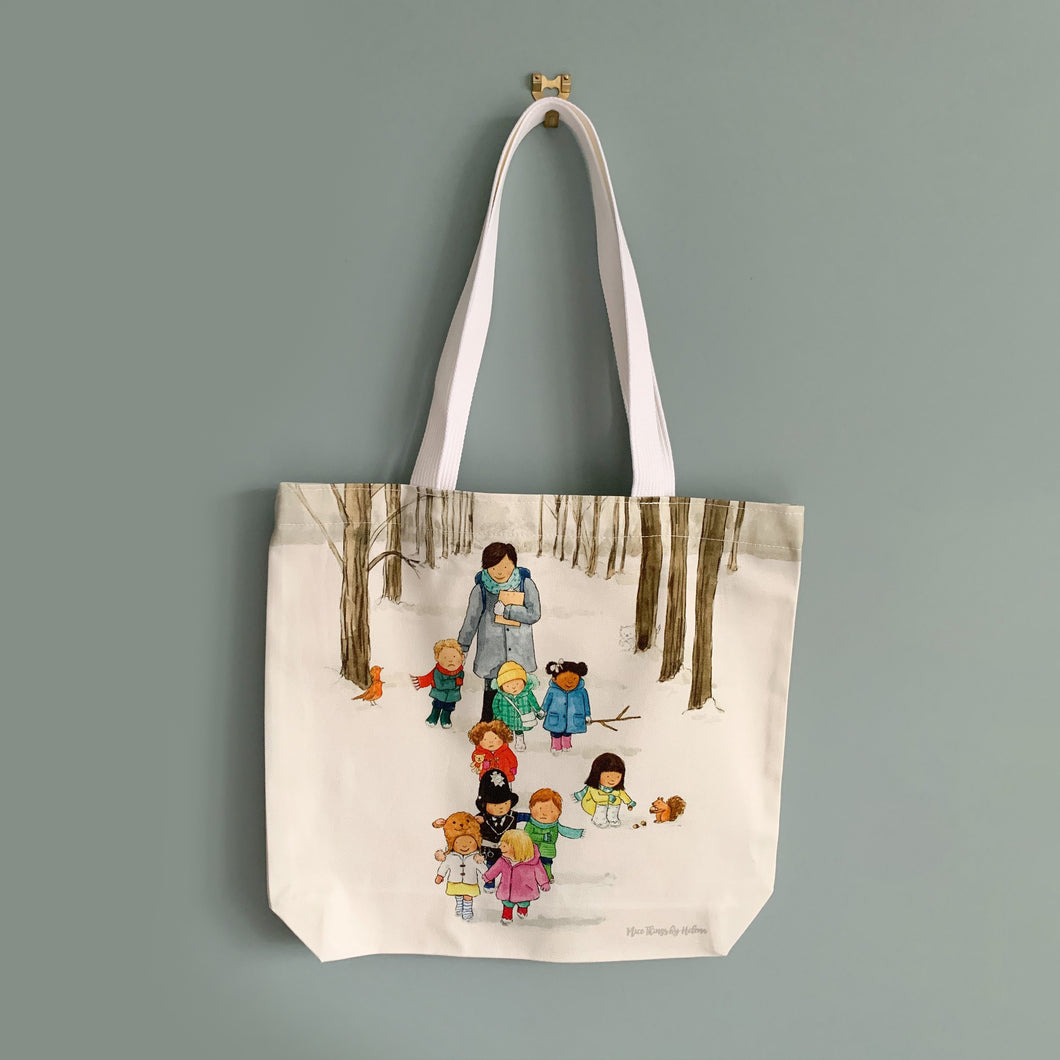 Snowy Walk - Cotton Tote Bag