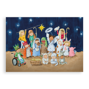 Pack of 5 printed Christmas cards - The School Nativity