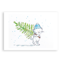 Load image into Gallery viewer, Pack of 5 printed Christmas cards - Cecil has a Christmas tree