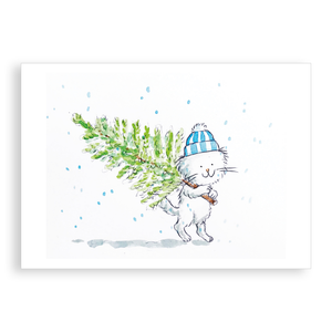 Pack of 5 printed Christmas cards - Cecil has a Christmas tree