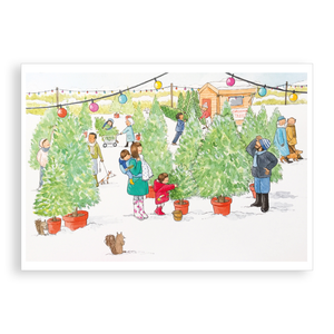 Pack of 5 printed Christmas cards - Choosing a Christmas Tree