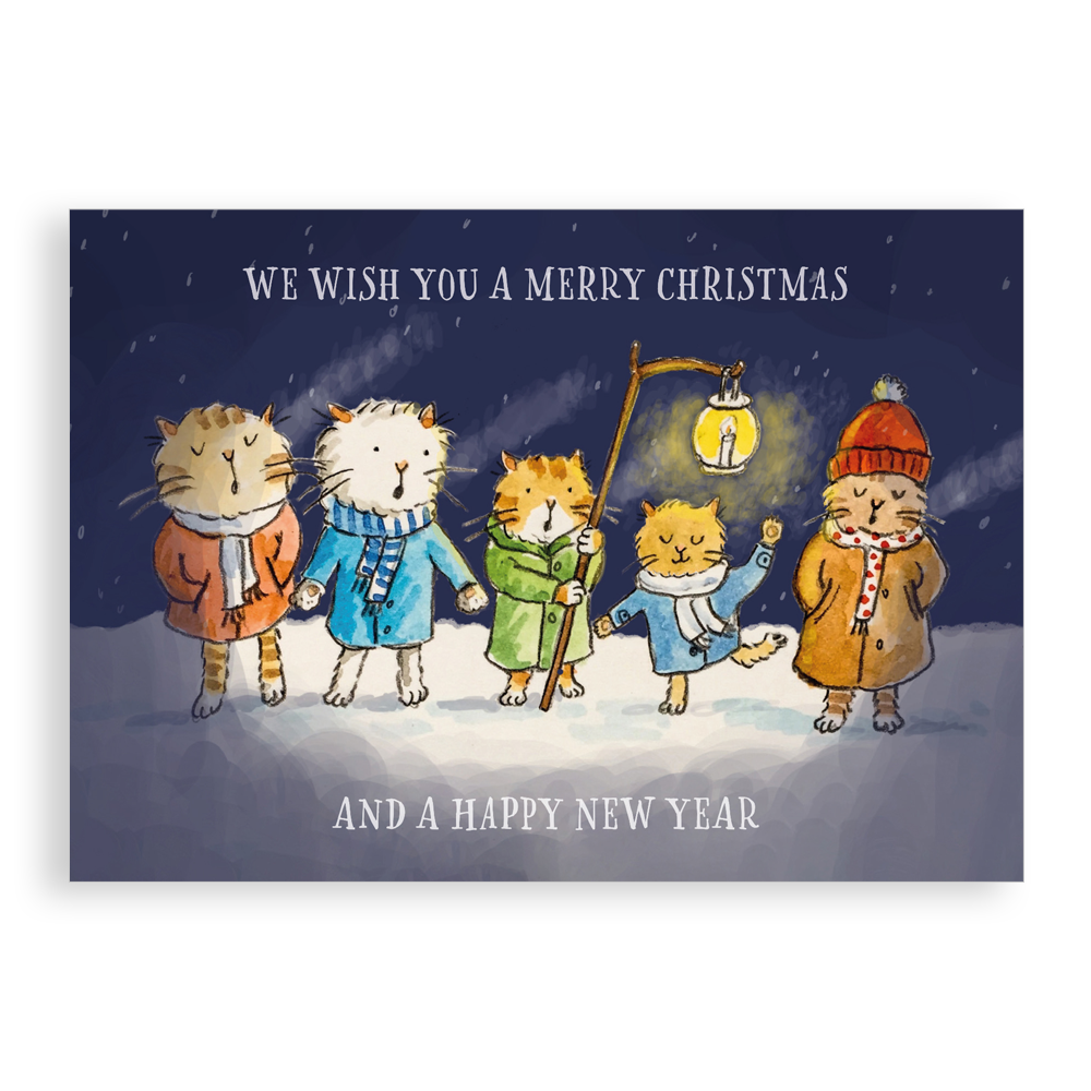 Pack of 5 printed Christmas cards - Christmas Cats