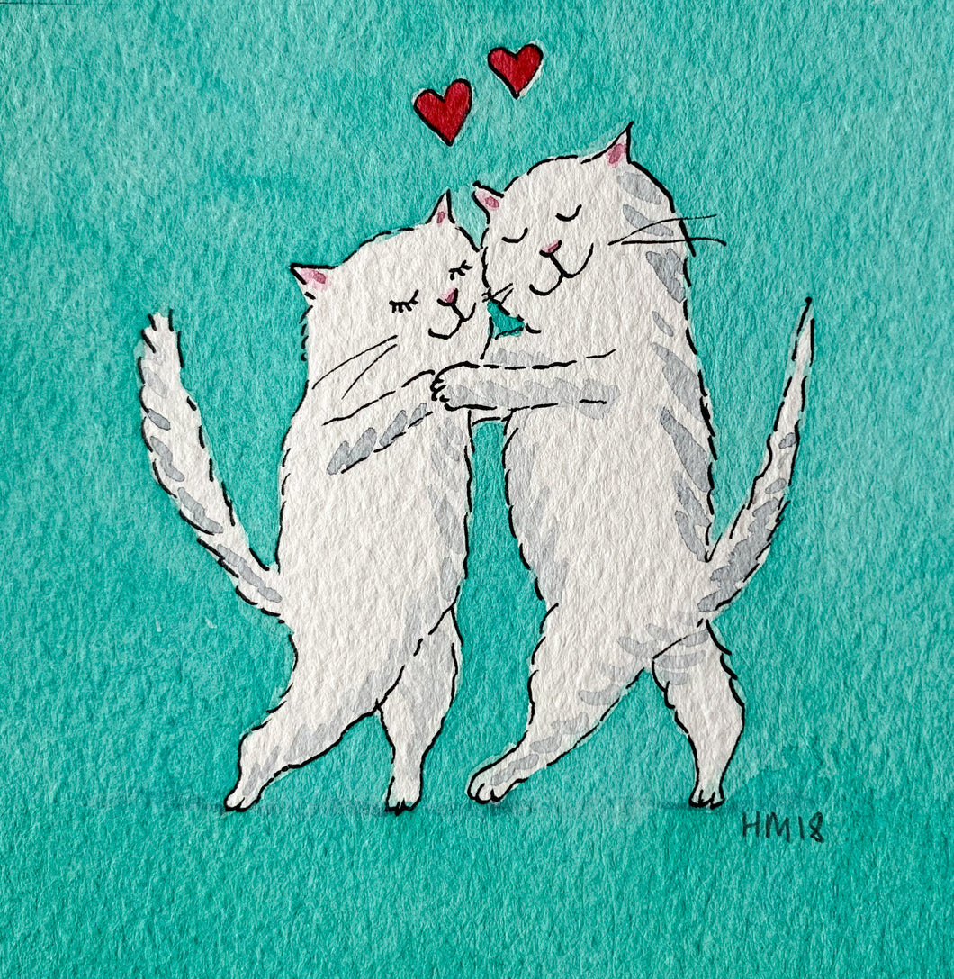 Kittens in Love - Original signed artwork in black ink and watercolour.
