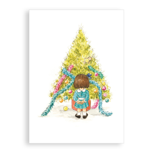 Pack of 5 printed Christmas cards - The little girl who decorated the tree