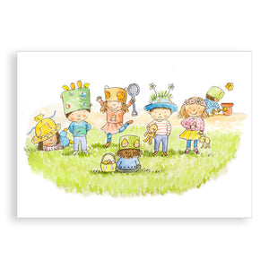 Easter card - Easter Bonnets and an Egg Hunt