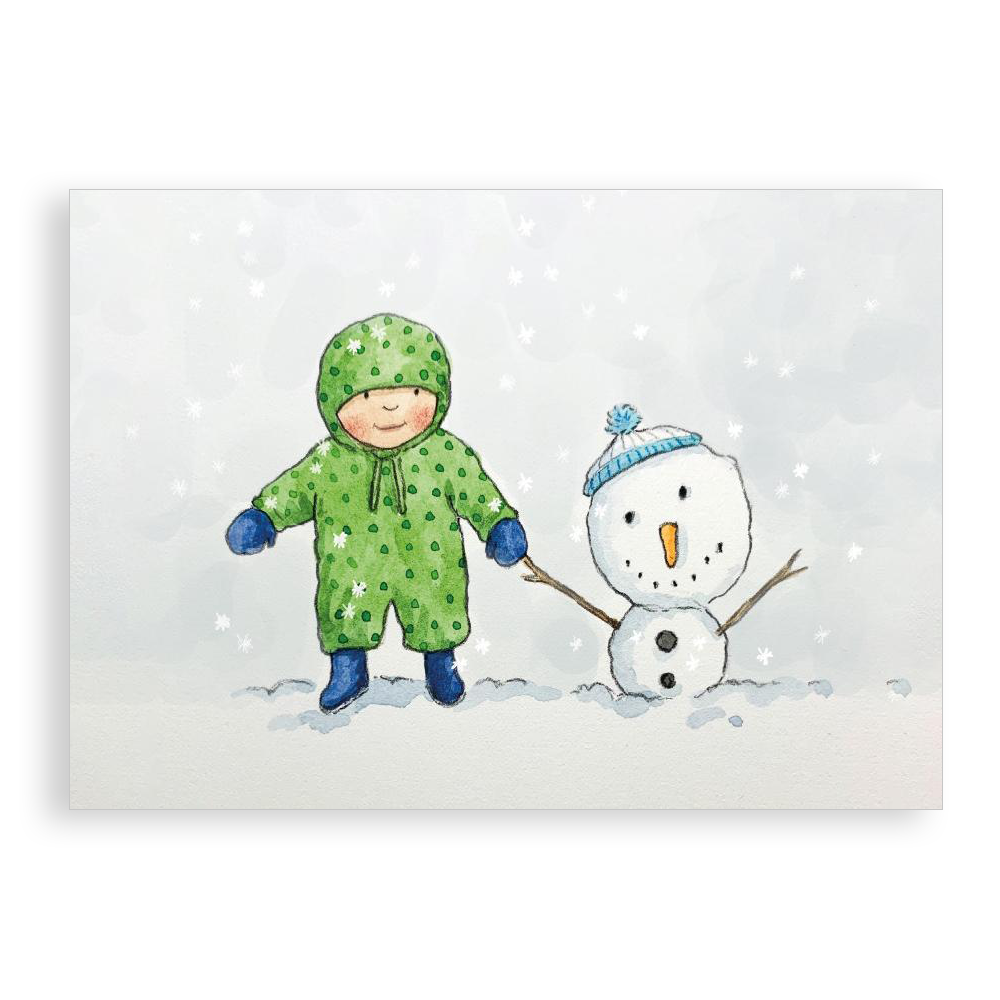 Pack of 5 printed Christmas cards - Snowy Friend