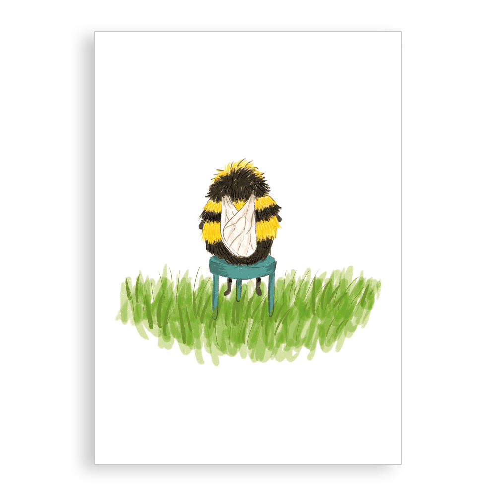 Greetings Card - Fuzzy Little Bee