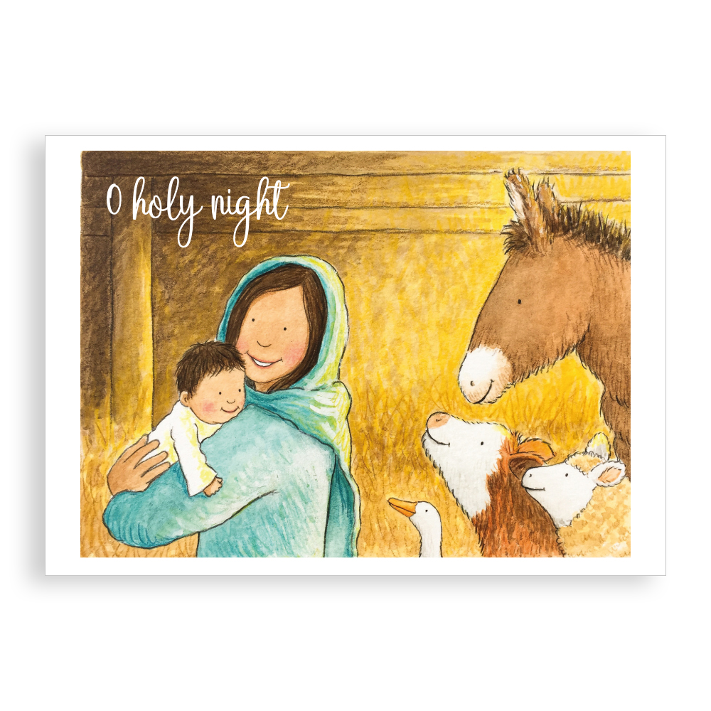 Pack of 5 printed Christmas cards - O Holy Night