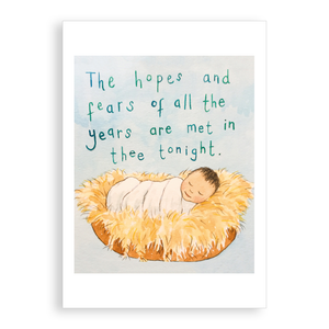 Pack of 5 printed Christmas cards - Jesus in the Manger