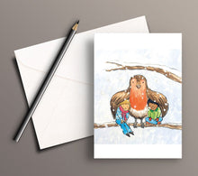 Load image into Gallery viewer, Pack of 5 printed Christmas cards - Keeping cosy with Robin