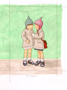 Best Friends - Original signed artwork in marker pen and pencil crayon.