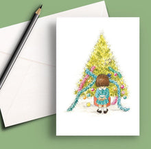 Load image into Gallery viewer, Pack of 5 printed Christmas cards - The little girl who decorated the tree
