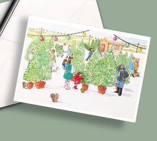 Load image into Gallery viewer, Pack of 5 printed Christmas cards - Choosing a Christmas Tree