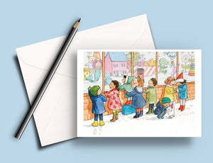 Pack of 5 printed Christmas cards - Window Shopping