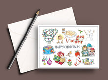 Load image into Gallery viewer, Pack of 5 printed Christmas cards - Happy Christmas