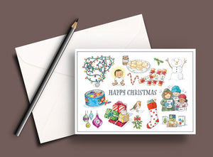 Pack of 5 printed Christmas cards - Happy Christmas