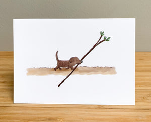 Greetings card - Puppy's best stick