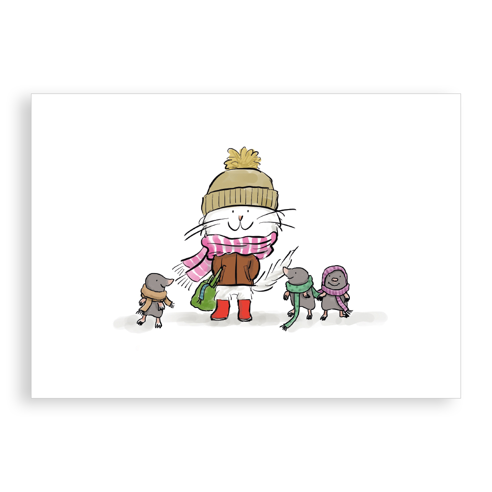 Pack of 5 printed Christmas cards - Cosy Scarves
