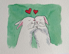 Load image into Gallery viewer, Rabbits in Love - Original signed artwork in black ink and watercolour.