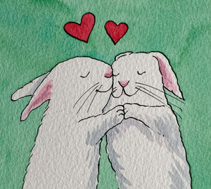 Rabbits in Love - Original signed artwork in black ink and watercolour.