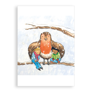 Pack of 5 printed Christmas cards - Keeping cosy with Robin