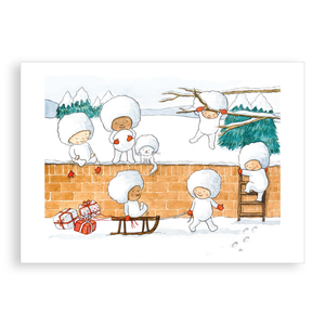 Pack of 5 printed Christmas cards - The Snowball Babies