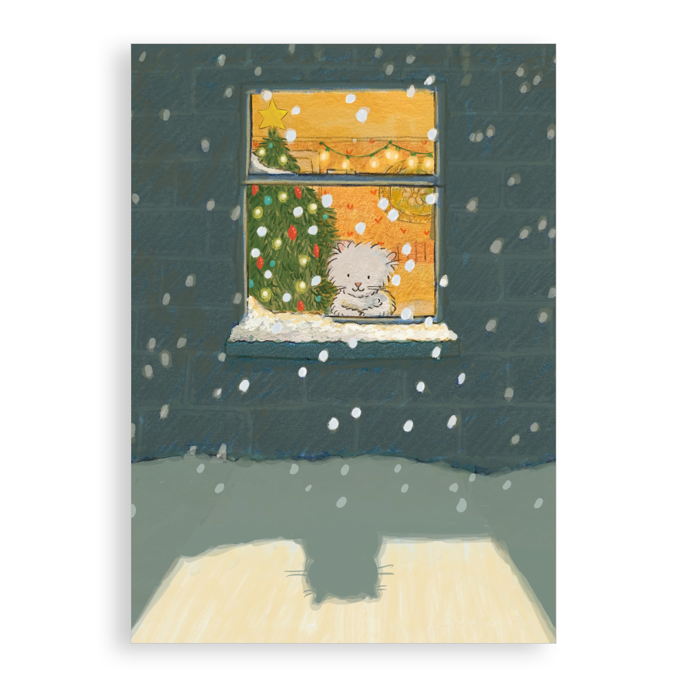Pack of 5 printed Christmas cards - Hoping to Build a Snow Kitten