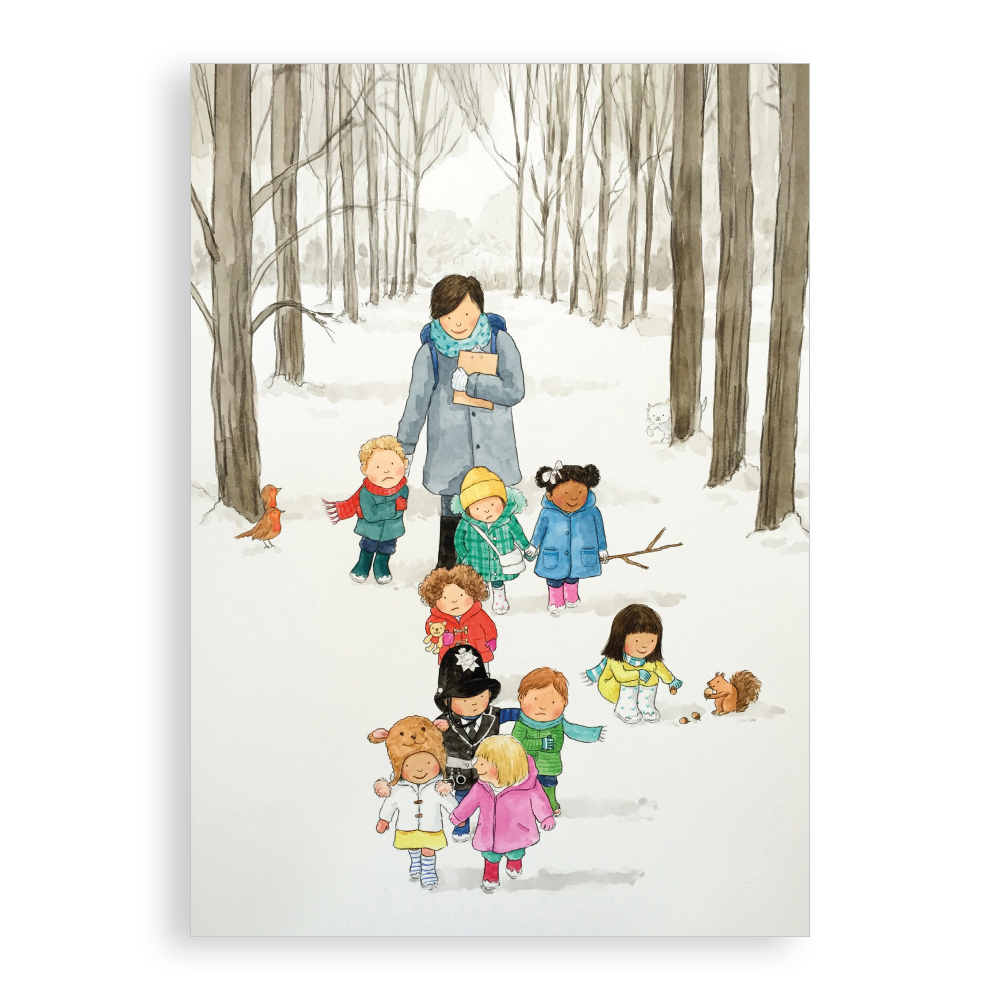 Pack of 5 printed Christmas cards - Snowy Walk