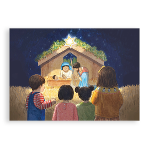 Pack of 5 printed Christmas cards - The Stable