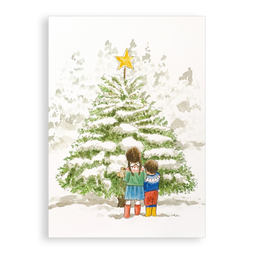 Pack of 5 printed Christmas cards - Star of Wonder