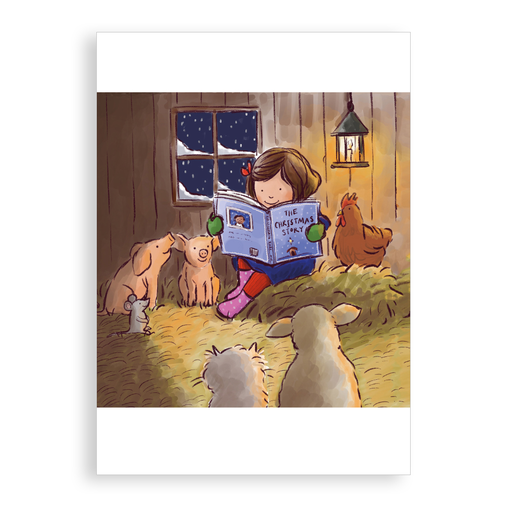 Pack of 5 printed Christmas cards - Story Time