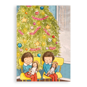 Pack of 5 printed Christmas cards - Christmas Twins