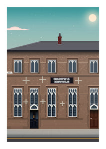 The Crown & Kettle Manchester Pub Poster Print