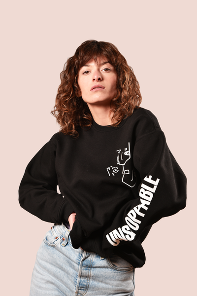 BLACK UNISEX SWEATSHIRT - UNSTOPPABLE