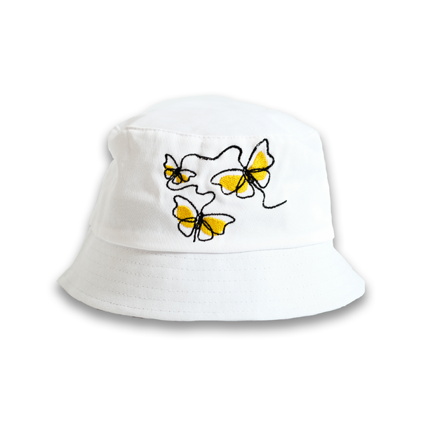 WHITE BUCKET HAT - BUTTERFLY