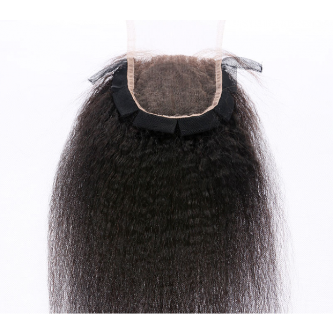 NEW TEAR PROOF/ LAY FLAT LACE CLOSURE - Supreme Virgin Mongolian Kinky Straight Texture