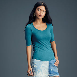 Open image in slideshow, Anvil  Womens Tri-blend Deep Scoop  Sleeve Tee