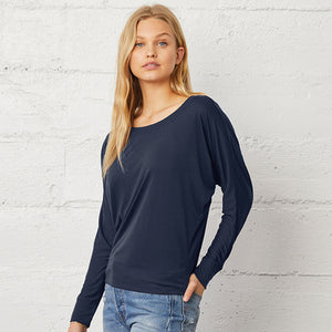 Bella + Canvas Flowy Off-the-shoulder Long Sleeve T-shirt