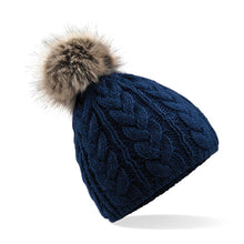 Load image into Gallery viewer, Beechfield Fur Pom Pom Cable Beanie