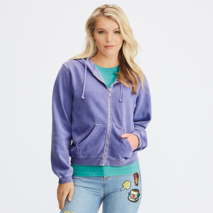 Comfort Colors  Womens Full Zip Hooded Sweatshirt