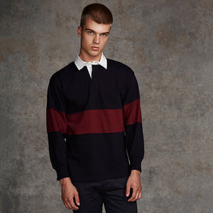 Front Row  Panelled Rugby Shirt - Tag-free