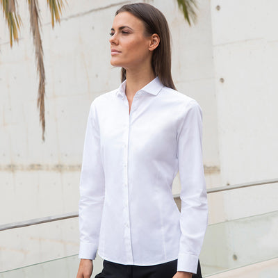 Henbury  Womens Long Sleeve Stretch Shirt