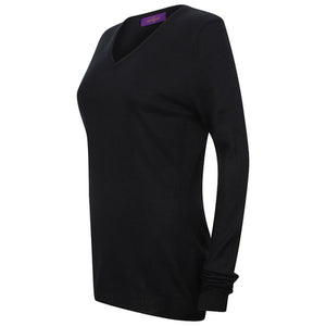 Henbury Womens Cashmere Touch Acrylic V-neck Jumper