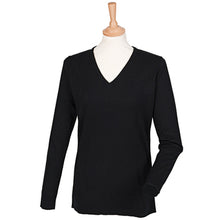 Load image into Gallery viewer, Henbury Womens Cashmere Touch Acrylic V-neck Jumper